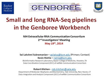 NIH Extracellular RNA Communication Consortium 2 nd Investigators' Meeting May 19 th, 2014 Sai Lakshmi Subramanian – (Primary