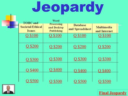 Jeopardy TOHC and Societal/Ethical Issues Word Processing and Desktop Publishing Database and Spreadsheet Multimedia and Internet Q $100 Q $200 Q $300.