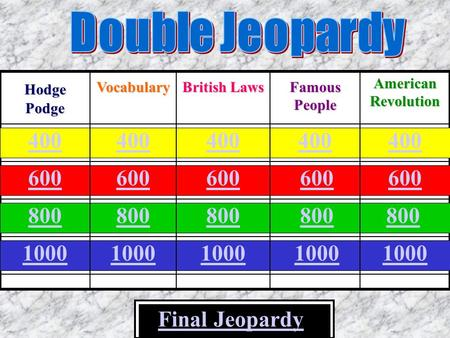 400 600 800 1000 Final Jeopardy 800 Hodge Podge Vocabulary British Laws Famous People American Revolution 400 600 800 1000.
