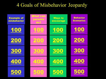 4 Goals of Misbehavior Jeopardy 100 Ways to encourage 500 300 200 400 100 What can parents do? 500 300 200 400 100 Example of misbehavior 500 300 200.