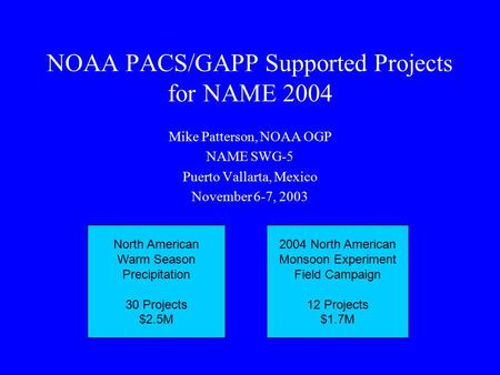NOAA PACS/GAPP Supported Projects for NAME 2004 Mike Patterson, NOAA OGP NAME SWG-5 Puerto Vallarta, Mexico November 6-7, 2003 North American Warm Season.