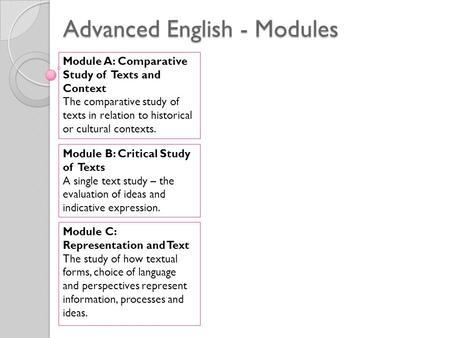 Advanced English - Modules