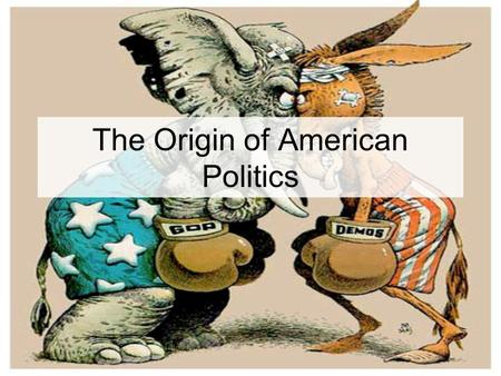 The Origin of American Politics. Answer these in your journal to begin today… Are political parties good for democracy? Why or why not?