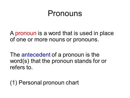 Pronouns A pronoun is a word that is used in place of one or more nouns or pronouns. The antecedent of a pronoun is the word(s) that the pronoun stands.