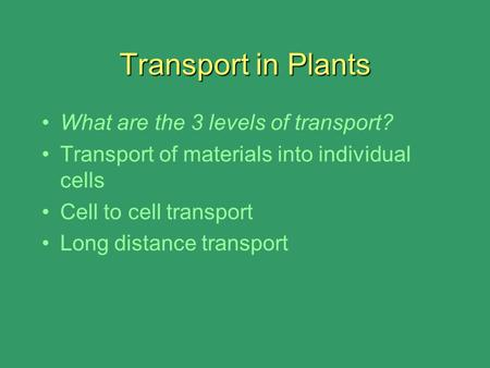 Transport in Plants What are the 3 levels of transport? Transport of materials into individual cells Cell to cell transport Long distance transport.