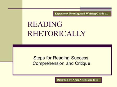 Steps for Reading Success, Comprehension and Critique