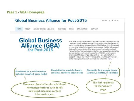"Page 1 - GBA Homepage This link re-directs to the ""About"" page These are placeholders for additional homepage features such as RSS newsfeed, calendar,"