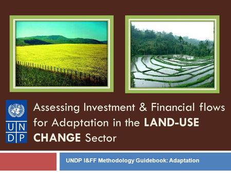 Assessing Investment & Financial flows for Adaptation in the LAND-USE CHANGE Sector UNDP I&FF Methodology Guidebook: Adaptation.