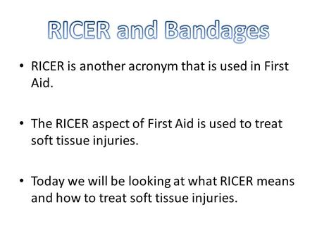 RICER is another acronym that is used in First Aid. The RICER aspect of First Aid is used to treat soft tissue injuries. Today we will be looking at what.