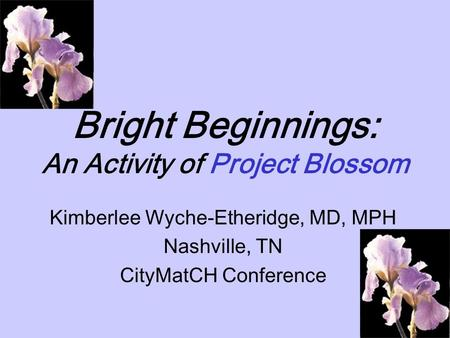 Bright Beginnings: An Activity of Project Blossom Kimberlee Wyche-Etheridge, MD, MPH Nashville, TN CityMatCH Conference.
