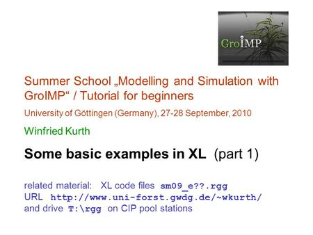 "Summer School ""Modelling and Simulation with GroIMP"" / Tutorial for beginners University of Göttingen (Germany), 27-28 September, 2010 Winfried Kurth Some."