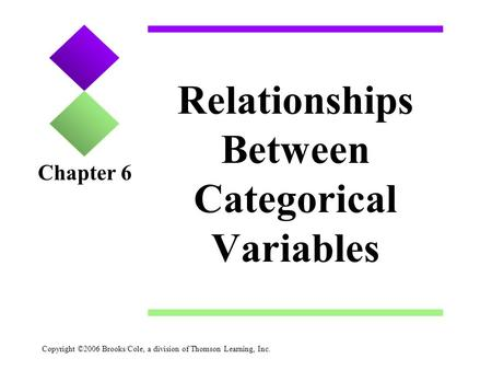 Copyright ©2006 Brooks/Cole, a division of Thomson Learning, Inc. Relationships Between Categorical Variables Chapter 6.