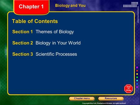 Copyright © by Holt, Rinehart and Winston. All rights reserved. ResourcesChapter menu Biology and You Table of Contents Section 1 Themes of Biology Section.