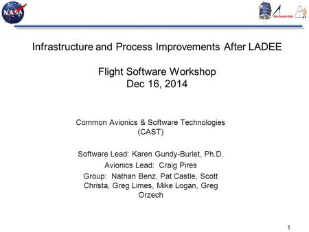 1 Infrastructure and Process Improvements After LADEE Flight Software Workshop Dec 16, 2014 Common Avionics & Software Technologies (CAST) Software Lead: