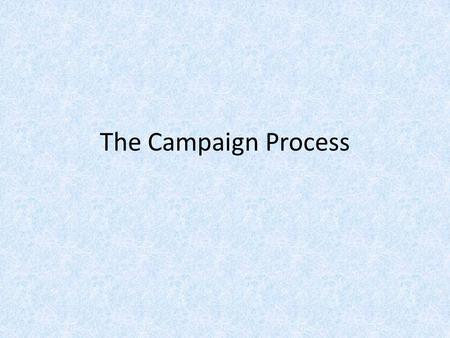 The Campaign Process. Roots Nomination Campaign – winning a primary election to represent your party in the general election. General Election Campaign.