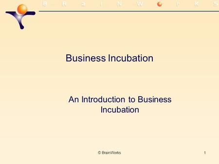 © BrainWorks1 Business Incubation An Introduction to Business Incubation.