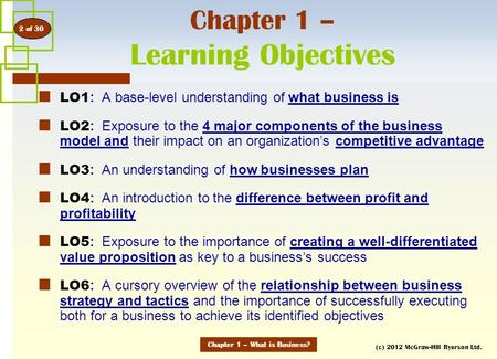 (c) 2012 McGraw-Hill Ryerson Ltd. Chapter 1 – Learning Objectives LO1 : A base-level understanding of what business is LO2 : Exposure to the 4 major components.