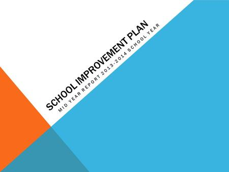 SCHOOL IMPROVEMENT PLAN MID YEAR REPORT 2013-2014 SCHOOL YEAR.