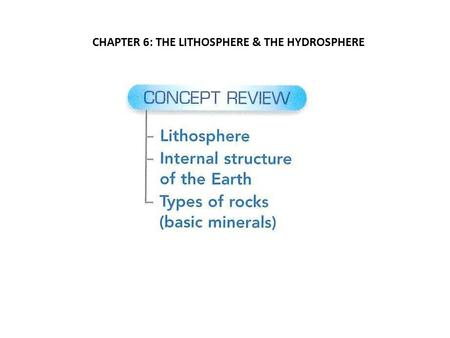 CHAPTER 6: THE LITHOSPHERE & THE HYDROSPHERE. (1)THE LITHOSPHERE Approximately 100 km thick The outer shell is made up of the Earth's crust <strong>and</strong> the top.