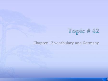 Chapter 12 vocabulary and Germany. 1. Navigable 2. Loess 3. Medieval 4. NATO 5. Impressionism 6. Paris 7. Charlemagne 8. Napoleon Bonaparte 9. Reformation.