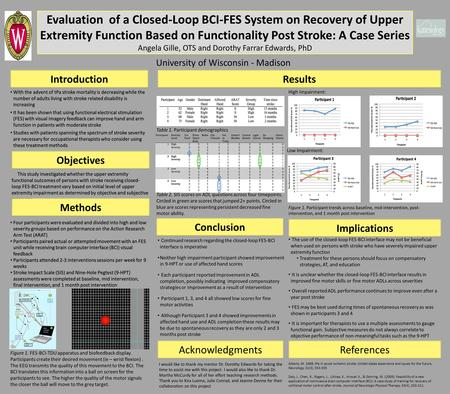 Evaluation of a Closed-Loop BCI-FES System on Recovery of Upper Extremity Function Based on Functionality Post Stroke: A Case Series Angela Gille, OTS.