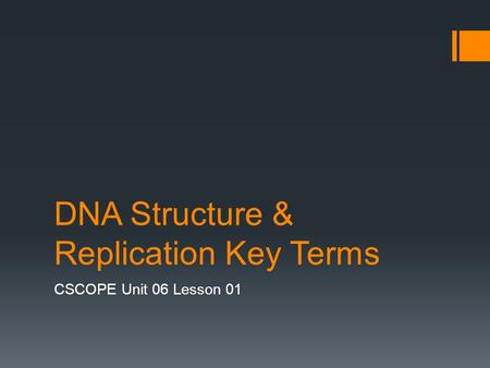 DNA Structure & Replication Key Terms CSCOPE Unit 06 Lesson 01.