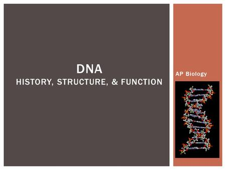 DNA History, Structure, & Function