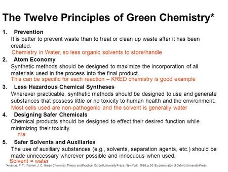The Twelve Principles of Green Chemistry* 1. Prevention It is better to prevent waste than to treat or clean up waste after it has been created. 2. Atom.