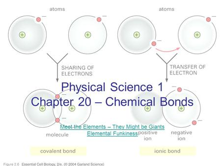 Physical Science 1 Chapter 20 – Chemical Bonds Meet the Elements – They Might be Giants Elemental Funkiness Meet the Elements – They Might be Giants Elemental.