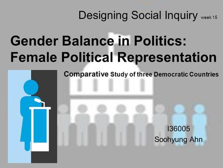Designing Social Inquiry week 15 Gender Balance in Politics: Female Political Representation Comparative Study of three Democratic Countries I36005 Soohyung.