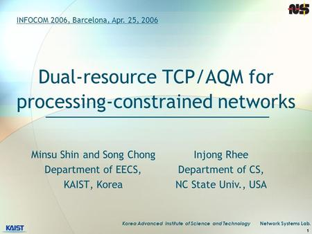 Korea Advanced Institute of Science and Technology Network Systems Lab. 1 Dual-resource TCP/AQM for processing-constrained networks INFOCOM 2006, Barcelona,