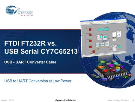 Owner : SAYD Cypress Confidential Sales Training 2/21/2013 1 FTDI FT232R vs. USB Serial CY7C65213 USB - UART Converter Cable USB to UART Conversion at.