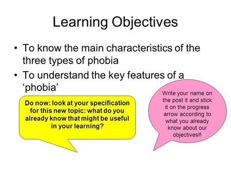 Learning Objectives To know the main characteristics of the three types of phobia To understand the key features of a 'phobia' Do now: look at your specification.