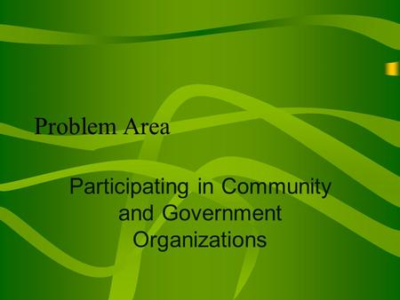 Problem Area Participating in Community and Government Organizations.