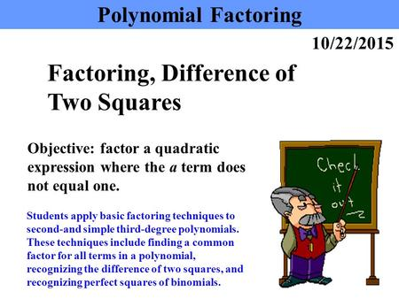 Factoring, Difference of Two Squares