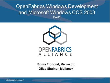 OpenFabrics Windows Development and Microsoft Windows CCS 2003 Part1