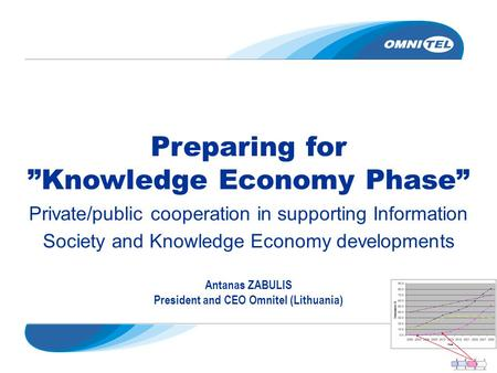 "Preparing for ""Knowledge Economy Phase"" Private/public cooperation in supporting Information Society and Knowledge Economy developments Antanas ZABULIS."