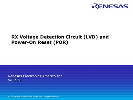 RX Voltage Detection Circuit (LVD) and Power-On Reset (POR)