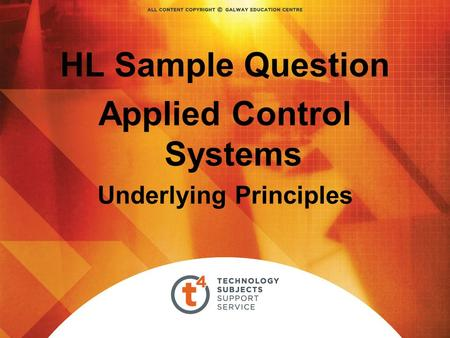 HL Sample Question Applied Control Systems Underlying Principles.