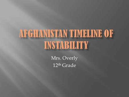 Mrs. Overly 12 th Grade.  Afghanistan takes great pride in the fact that no outside forces have ever been successful in controlling their country. Alexander.