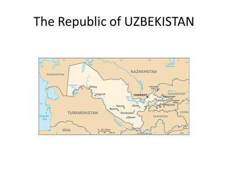 The Republic of UZBEKISTAN. Country Profile Nationality: Uzbek. Population (July 2009 est.): 27.73 million. Ethnic groups (1996 est.): Uzbek 80%, Russian.