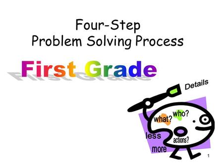 Four-Step Problem Solving Process 1. Four-Step Process for Problem Solving Teaches the importance of language within math problems Provides foundation.