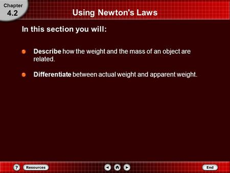 Using Newton's Laws Describe how the weight and the mass of an object are related. Differentiate between actual weight and apparent weight. In this section.