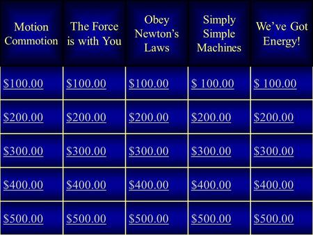 Motion Commotion The Force is with You Obey Newton's Laws Simply Simple Machines We've Got Energy! $100.00 $ 100.00 $ 100.00 $ 100.00 $ 100.00 $200.00.