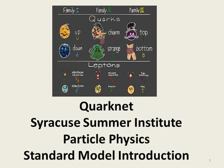 Quarknet Syracuse Summer Institute Particle Physics Standard Model Introduction 1.