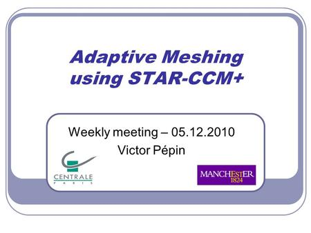 Adaptive Meshing using STAR-CCM+ Weekly meeting – 05.12.2010 Victor Pépin.