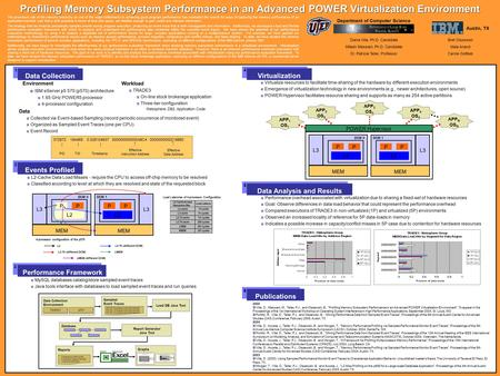 Profiling Memory Subsystem Performance in an Advanced POWER Virtualization Environment The prominent role of the memory hierarchy as one of the major bottlenecks.