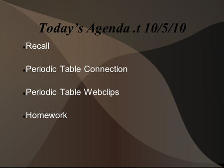 Today's Agenda.t 10/5/10 Recall Periodic Table Connection Periodic Table Webclips Homework.