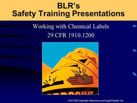 11017100 Copyright  Business and Legal Reports, Inc. BLR's Safety Training Presentations Working with Chemical Labels 29 CFR 1910.1200.