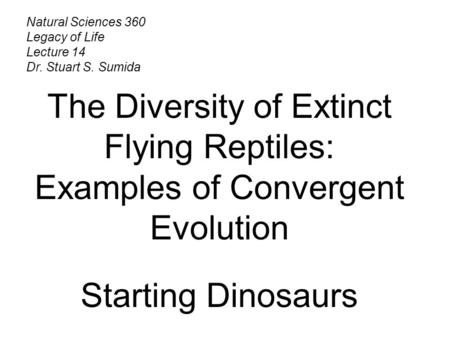 Natural Sciences 360 Legacy of Life Lecture 14 Dr. Stuart S. Sumida The Diversity of Extinct Flying Reptiles: Examples of Convergent Evolution Starting.